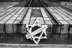 AUSCHWITZ, POLAND - July 11, 2017. Rail entrance to concentratio. N camp at Auschwitz Birkenau Royalty Free Stock Photography