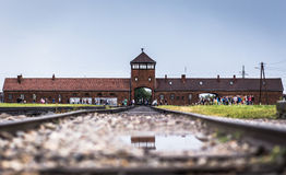 AUSCHWITZ, POLAND - July 11, 2017.Rail entrance to concentration. Camp at Auschwitz Birkenau KZ Poland,classic historical view of Auschwitz death camp in black Stock Photo