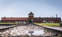 AUSCHWITZ, POLAND - July 11, 2017.Rail entrance to concentration. Camp at Auschwitz Birkenau KZ Poland,classic historical view of Auschwitz death camp in black Stock Image