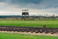 Auschwitz Polen - Augusti 12, 2017: Järnväg till den Auschwitz Birkenau koncentrationsläger Royaltyfria Foton