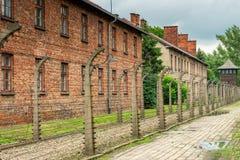 Auschwitz Polen - Augusti 12, 2017: koncentrationsläger Fotografering för Bildbyråer