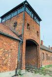 Auschwitz Polen - Augusti 12, 2017: portar och järnväg som skriver in den Auschwitz Birkenau koncentrationsläger Royaltyfria Bilder