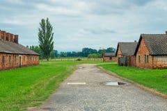 Auschwitz Polen - Augusti 12, 2017: tegelsten som förlägga i barack i den Auschwitz Birkenau koncentrationsläger Arkivbilder