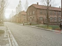 AUSCHWITZ, POLEN - JANUARI 28, 2017; Loodswacht in Auschwitz Museum Auschwitz - Birkenau, holocaustmuseum Verjaardag Concent stock foto's