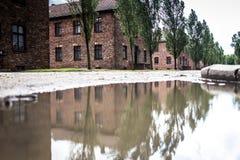 AUSCHWITZ POLEN - Juli 11, 2017 Del av Auschwitz Concentratio Arkivbilder