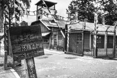 AUSCHWITZ POLEN - Juli 11, 2017; Museum Auschwitz - förintelse Royaltyfri Bild