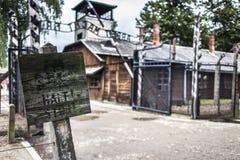 AUSCHWITZ POLEN - Juli 11, 2017; Museum Auschwitz - förintelse Royaltyfri Foto