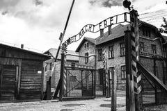 AUSCHWITZ POLEN - Juli 11, 2017; Museum Auschwitz - förintelse Royaltyfri Fotografi