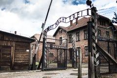 AUSCHWITZ POLEN - Juli 11, 2017; Museum Auschwitz - förintelse Fotografering för Bildbyråer