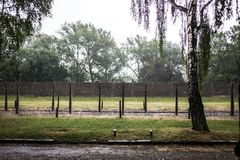 AUSCHWITZ, POLEN - 11. Juli 2017 Teil von Auschwitz Concentratio Lizenzfreies Stockfoto