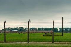 Auschwitz, Polonia - 12 de agosto de 2017: cerca con alambre de púas bajo tensión, campo de concentración de Auschwitz Foto de archivo