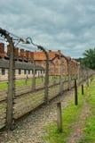 Auschwitz, Polonia - 12 de agosto de 2017: línea de la muerte en alambre del campo de concentración con alto voltaje Imágenes de archivo libres de regalías