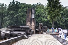 AUSCHWITZ, POLONIA - 11 luglio 2017 Parte del concentrati di Auschwitz Fotografie Stock Libere da Diritti