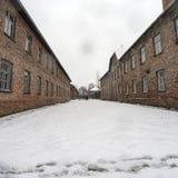 Auschwitz: przegląd dwa bloku w zimie z śniegiem Obrazy Royalty Free