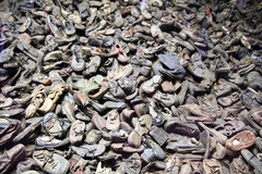 Auschwitz shoes. The shoes of the jews people killed in Auschwitz nazi camp in poland Stock Image