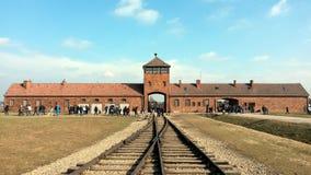 Auschwitz stångingång arkivfoto