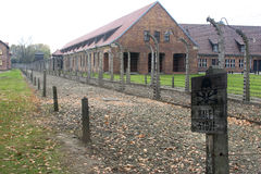 Auschwitz staket och byggnader royaltyfri fotografi