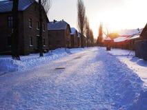Auschwitz. The sun sets over Auschwitz in winter Royalty Free Stock Photos