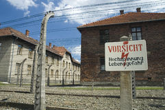 Auschwitz - warning Stock Photography