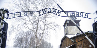 Auschwitz: wyjście od koncentracyjnego obozu eksterminaci i Fotografia Royalty Free