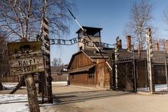Auschwitzmuseum van Holocaustcrematorium naast de gaskamer Vreselijke donkere plaats in een concentratiekamp Stock Foto's