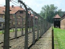 Auschwitzomheining en wachttoren stock fotografie