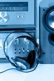 Auscultadores conectados ao estéreo audio do vintag Foto de Stock