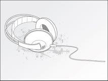 Auscultadores do estéreo de Grunge Ilustração Stock