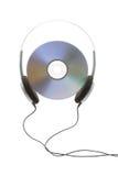 Auscultadores e disco digital fotografia de stock