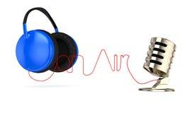 Auscultadores e microfone Imagem de Stock
