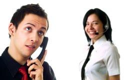 Auscultadores ou telefone do fio? Foto de Stock Royalty Free