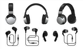 Auscultadores real?sticos fones de ouvido 3D e auriculares sem fio para a música e o jogo de escuta Tipos do vetor de earbuds iso ilustração royalty free
