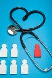 Auscultazione del cuore, concetto di malattia di cardiologia Stetoscopio clinico immagini stock libere da diritti