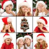 Ausdrücke der Kinder, die Spaß zur Weihnachtszeit haben stockfotografie