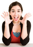 Ausdruck einer Frau, die etwas groß gewinnt Lizenzfreies Stockfoto