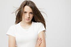 Ausdruck eines wirklichen jungen Mädchens Lizenzfreie Stockbilder