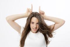 Ausdruck eines wirklichen jungen Mädchens Lizenzfreies Stockfoto