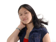 Ausdruck-zufriedenes Mädchen lizenzfreie stockbilder