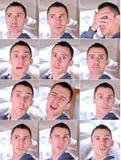 Ausdrucksvolle Collage des jungen Mannes Stockfotos