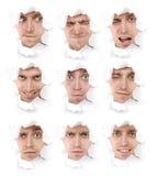 Ausdrucksvolle Gesichter der emotionalen Person Stockbilder
