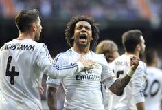 Ausdrucksvoller Marcelo Vieira von Real Madrid feiert mit zählendem goa Sergio Ramoss lizenzfreie stockfotos