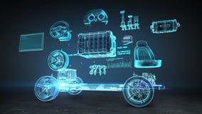 Auseinandergebautes Auto, elektronisch, Lithium-Ionen-Batterie-Echoauto Aufladungsautobatterie umweltfreundliches zukünftiges Aut stock abbildung
