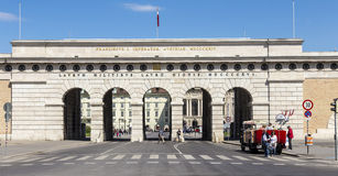 Auseres Burgtor Gate monument in Vienna. VIENNA, AUSTRIA - APR 24, 2015: people pass the Auseres Burgtor Gate monument in Vienna, Austria. It was build in 1821 Royalty Free Stock Photography