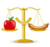Auserlesene Diät oder Korpulenz der Skalen Stockfotos