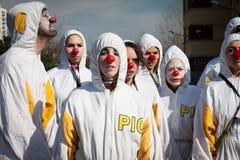 Ausführende, die an Milan Clown Festival 2014 teilnehmen Stockbild