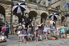 Ausführende am Edinburgh-Festival stockbild