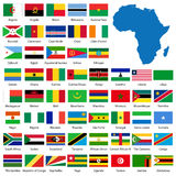 Ausführliche afrikanische Markierungsfahnen und Karte Lizenzfreie Stockbilder