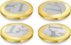 Voller Satz ein-Euro-Münzen Stockbild