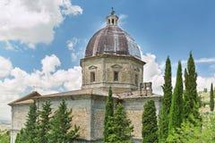 Ausführliche Ansicht der Kirche von Santa Maria Nuova in Cortona, Toskana, Italien lizenzfreies stockbild