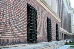 Ausführliche Ansicht der Maurerarbeit an Universität Harvard, MA stockfotografie